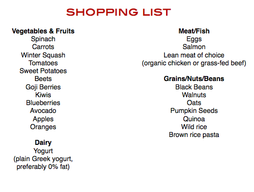 company shopping list